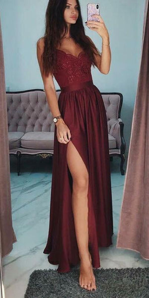 2019 A-Line Spaghetti Straps Side Split Cheap Modest Prom Dresses,evening dress cg55