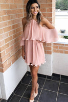 A-Line Halter Blush Chiffon Short Party Homecoming Dress with Ruffles cg5600