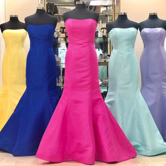 Simple Strapless Mermaid Floor Length Prom Dress cg5602