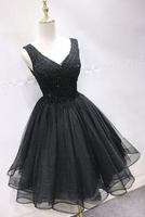 Black Tulle Lace Mini Party Dress, Beaded Lace Up Homecoming Dress cg5604