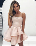 A-Line Jewel Short Champagne Satin Homecoming Cocktail Dress With Appliques cg560