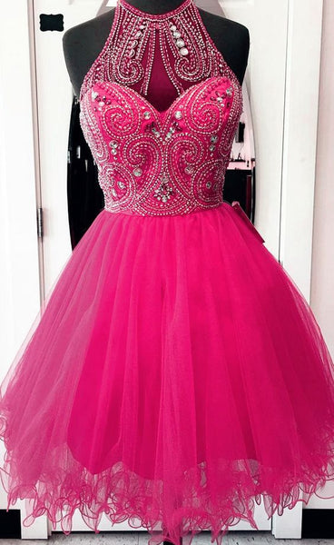 Elegant Crystal Beaded Tulle Short Party Dress, Short Homecoming Dress   cg5613