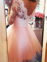 A-Line Square Long Sleeves Pink Tulle Homecoming Cocktail Dress With Lace cg562