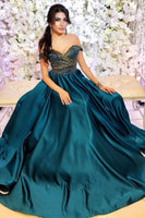 Off the Shoulder Beading Long Teal Prom Dress  cg5621