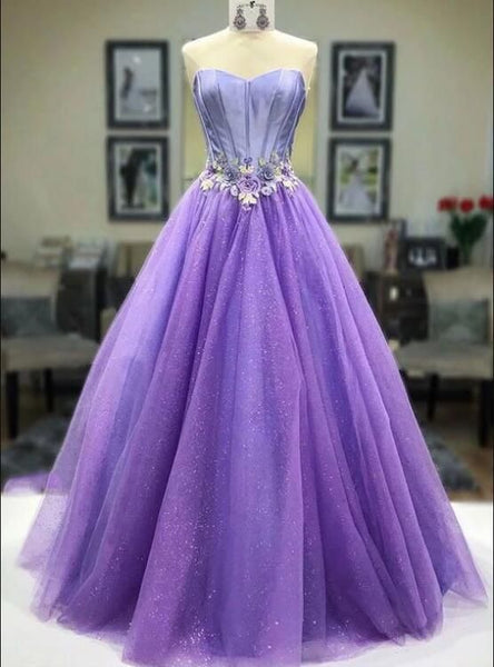 Purple sweetheart neck tulle long prom dress, evening dress  cg5625
