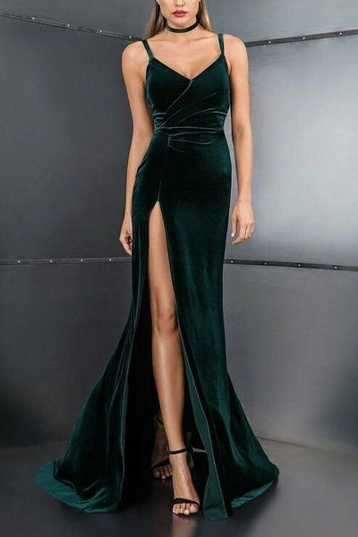 Spaghetti Straps ,V Neck,High Slit ,Sexy , Long Prom,Evening Dresses ,Floor Length Formal Dress, Prom Dress  cg5627