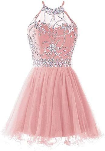 Women's Halter Short Homecoming Dress Beading Tulle Dress   cg5632