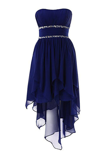navy blue strapless homecoming dress cg5634