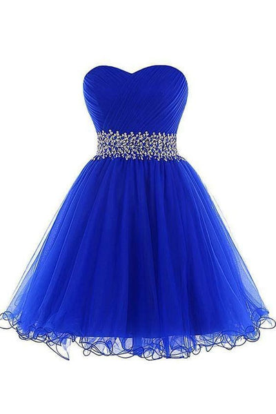 A-Line Homecoming Dresses A-line Sweetheart Short Tulle Lace-up Royal Blue Homecoming Dress  cg5638