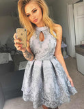 Keyhole Short Gray Homecoming Cocktail Dress With Appliques  cg563