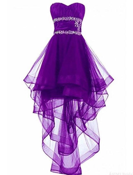 Lovely Dark Purple High Low Organza Lace-Up Formal Dresses, Beaded Formal Dresses, Homecoming Dresses   cg5640