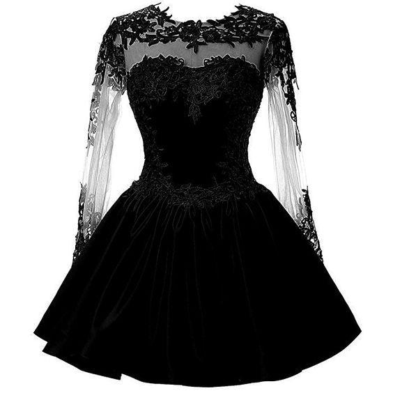 black homecoming dress with lace cg5647