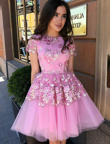 A-Line Jewel Short Pink Tulle Homecoming Cocktail Dress With Appliques  cg564