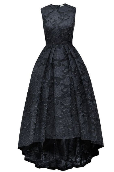 Black lace round neck high low sleeveless A-line long prom dress ,evening dresses  cg5653