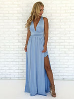 A-Line V-Neck Criss-Cross Straps Sky Blue Chiffon prom dress   cg5654