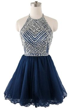 Beaded Top Homecoming Dress with Halter Strap, Back To School Dresses  cg5659