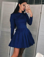Fashion A-Line Jewel Long Sleeves Navy Blue Short Homecoming Dresses cg565