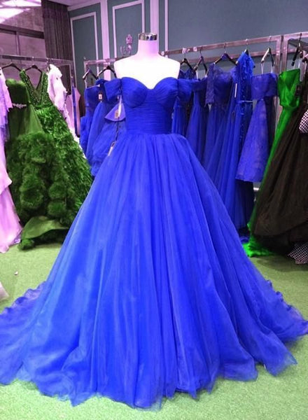 Beautiful Dark Blue Tulle Sweetheart Formal Dress, Elegant Ball Gown Prom Dresses  cg5665