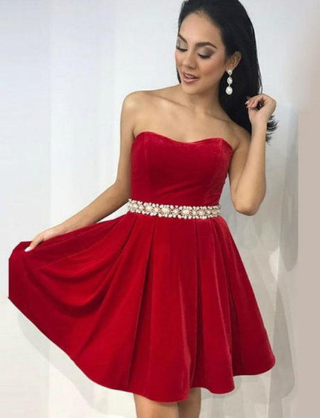Sweetheart Red Black Velvet Short Homecoming Party Dresses cg566
