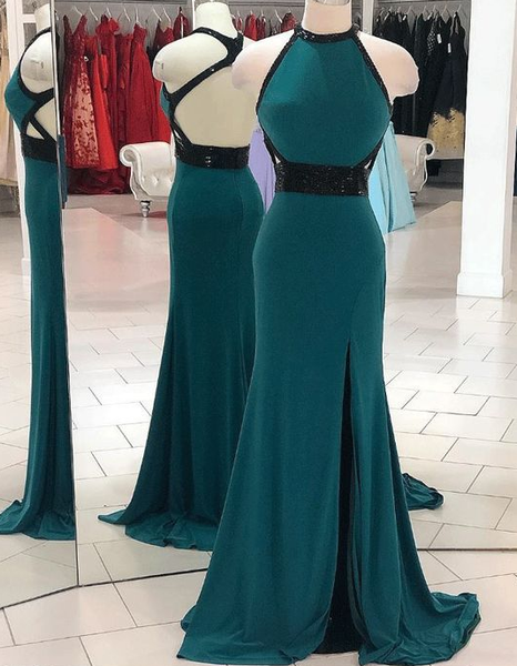 Pretty Backless Mermaid Evening Dress with Split Slit, Sexy Long Prom Dresses  cg5674
