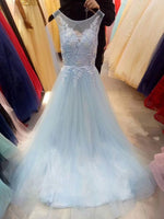 Light Blue Lace Applique Long Formal prom Dress 2020, Blue Evening Gowns  cg5675