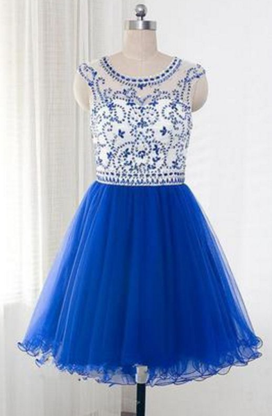 Royal Blue Tulle Sleeveless Homecoming Dresses With Beading  cg5686