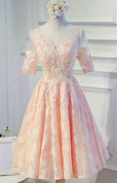 Feminine A-line Scoop Neck Tea-length Tulle Homecoming Dress With Appliques Lace  cg5687