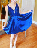 A-Line V Neck Short Homecoming Cocktail Party Dresses With Beading  cg569