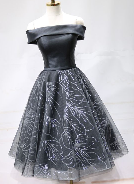 Black Satin Short Tulle Off Shoulder Party Dress, Homecoming Dress  cg5697