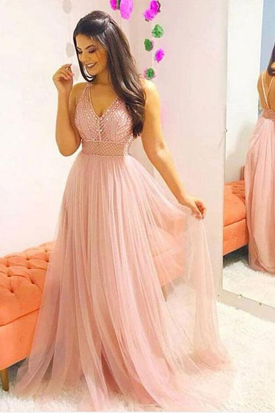 Pink v neck tulle beaded long prom dress, pink evening dress   cg5701
