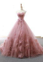 Pink Sweetheart neck Tulle Long Prom Dresses, Pink Evening Gown cg5704
