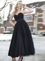 Black Prom Dresses Sweetheart A-line Ankle-length Cheap Sexy Long Prom Dress  cg5705
