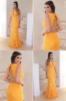 Yellow Lace Prom Dress, V-Neck Long Party Dress, Backless Mermaid Evening Dress   cg5709