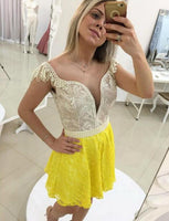 Round Neck Cap Sleeves Yellow Red Lace Short Homecoming Dresses With Pearls cg570