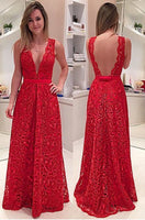 A-Line Deep V-Neck Illusion Back Long Red Lace Prom Dress with Sash  cg5710