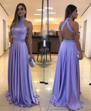 long lavender prom dress with high neckline and back neckline  cg5716