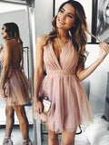 A-Line Deep V-Neck Spaghetti Straps Backless Tulle Homecoming Dresses cg571