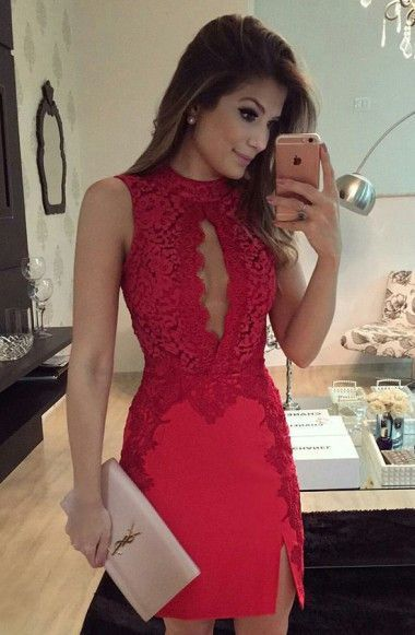 High Neck Knee-Length Keyhole Split Red Stretch Satin Homecoming Dress   cg5731