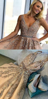champagne lace long prom dresses, ball gown prom dresses, formal prom dresses with beading  cg5732