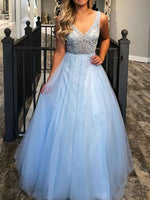 Elegant V neck Blue Tulle Prom Dress, Blue Evening Dress  cg5737