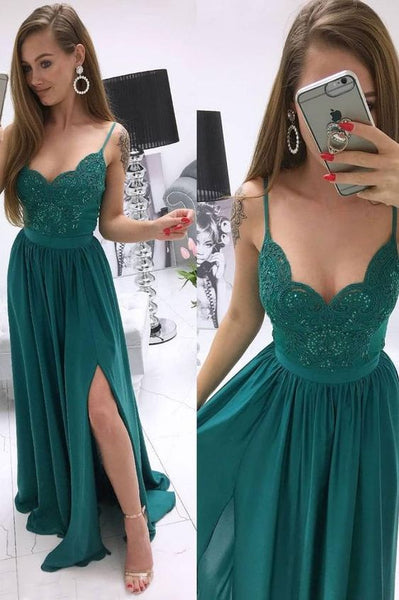 Green sweetheart lace chiffon long prom dress green evening dress  cg5742