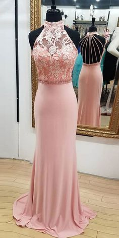 Pink Lace High neck Open Back Long Mermaid Prom Dress  cg5746