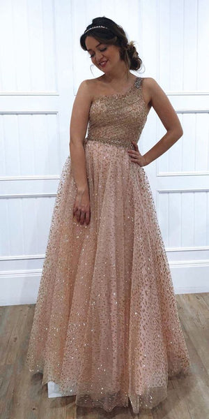 One Shoulder Sparkly Sequin Tulle A-Line Long Prom/Evening Dress   cg5748