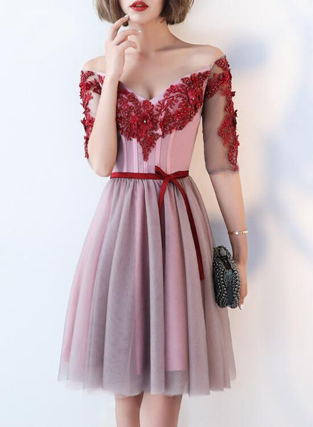 Elegant Pink Tulle V-Neckline Party Dress 2020, Pink Short homecoming Dress  cg5753