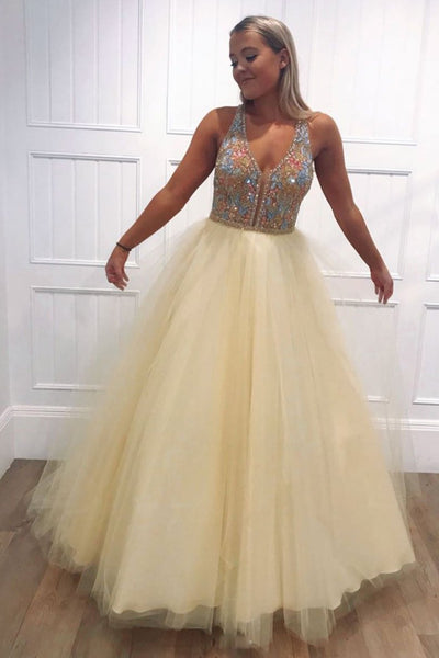 Yellow tulle v neck beads long prom dress yellow evening dress  cg5759