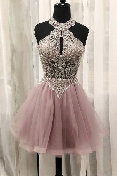 PINK TULLE LACE SHORT DRESS PINK HOMECOMING DRESS  cg5763