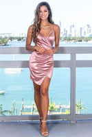 Satin Short homecoming Dress with Ruched   cg5769