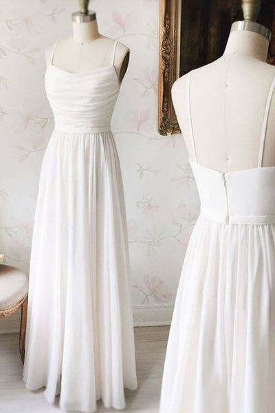Simple white chiffon V neck long prom dress, white evening dress  cg5776