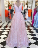 V-neck Pink Lace Pleated Long Prom Dress  cg5777
