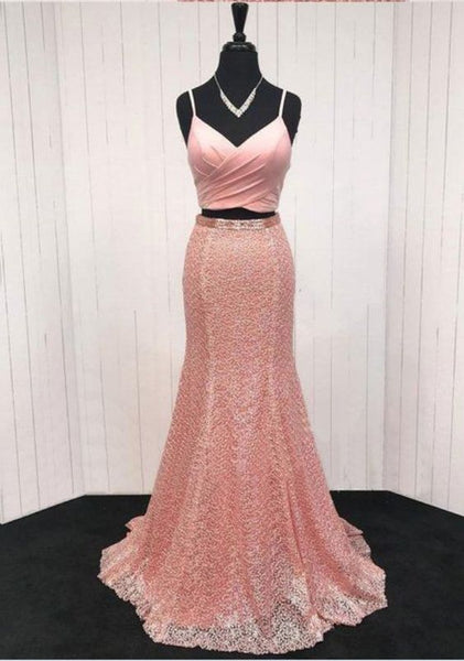Pink lace V neck spaghetti straps two piece long mermaid prom dress  cg5783
